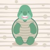 Projeto pequeno bonito e cartaz da camisa das crianças t da tartaruga Fotos de Stock