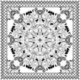 Projeto preto da cópia do Bandana Teste padrão da tela para o lenço de seda Fotos de Stock