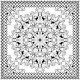 Projeto preto da cópia do Bandana Teste padrão da tela para o lenço de seda Imagens de Stock