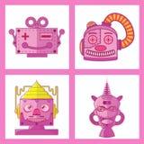 Projeto principal cor-de-rosa do vetor do robô Imagens de Stock