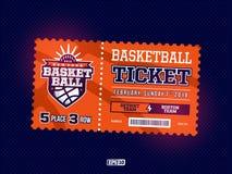 Projeto profissional moderno de bilhetes do basquetebol no tema alaranjado Foto de Stock