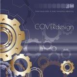 Projeto quadrado da tampa do folheto do vetor com dourado Imagem de Stock Royalty Free