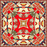 Projeto quadrado de seda do teste padrão do lenço ou do lenço de pescoço em s ucraniano Fotos de Stock Royalty Free