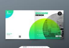 Projeto quadrado do folheto Folheto verde do molde do retângulo da empresa, relatório, catálogo, compartimento Disposição do folh ilustração do vetor