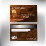 Projeto realístico do vetor do cartão de crédito da textura da cor de Brown Imagem de Stock Royalty Free