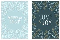 Projeto redondo do cartão de Natal Alegre e brilhante Amor e alegria Ilustração desenhada mão do vetor Fotos de Stock Royalty Free
