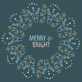 Projeto redondo do cartão de Natal Alegre e brilhante Ilustração desenhada mão do vetor Foto de Stock Royalty Free