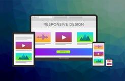 Projeto responsivo do Web site com portátil do computador, tabuleta, telefone celular e o relógio esperto Desenvolvimento transve ilustração stock