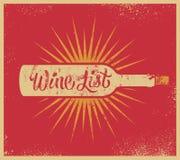 Projeto retro caligráfico da carta de vinhos do estilo do grunge Ilustração do vetor Foto de Stock Royalty Free
