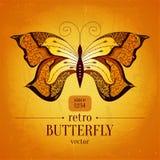 Projeto retro da bandeira do vetor da borboleta vintage Fotografia de Stock Royalty Free