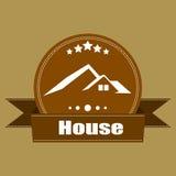 Projeto retro das etiquetas do logotipo do vintage de Real Estate da casa Imagens de Stock Royalty Free