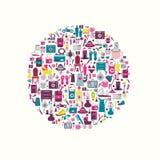 Projeto retro do círculo. Coleção do ícone liso. Fotos de Stock