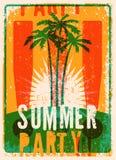 Projeto retro do cartaz do grunge tipográfico do partido do verão Ilustração do vetor Eps 10 Imagem de Stock Royalty Free