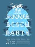 Projeto retro do cartaz do partido da praia do verão ilustração do vetor
