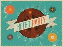Projeto retro do cartaz do partido Ilustração do vetor Imagens de Stock
