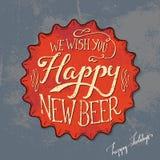 Projeto retro do cartaz do tampão de garrafa da cerveja Fotos de Stock Royalty Free