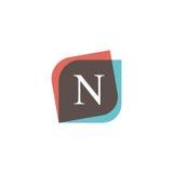 Projeto retro do logotipo do ícone da letra de N DES do vetor do sinal da empresa do vintage Fotografia de Stock