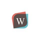 Projeto retro do logotipo do ícone da letra de W DES do vetor do sinal da empresa do vintage Imagem de Stock