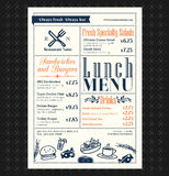 Projeto retro do menu do almoço do restaurante do quadro Foto de Stock