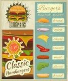 Retro ajustado do menu dos hamburgueres Fotos de Stock Royalty Free
