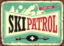 Projeto retro do sinal da patrulha do esqui ilustração do vetor