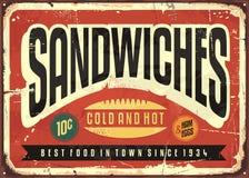 Projeto retro do sinal do alimento dos sanduíches ilustração royalty free