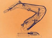 Projeto robótico do braço - arquiteto retro Blueprint ilustração stock