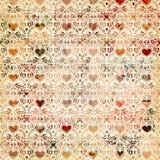 Projeto sem emenda do fundo do teste padrão do coração do vintage Foto de Stock