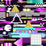 Projeto sem emenda do pulso aleatório do teste padrão Fundo de Digitas do Cyberpunk com elementos geométricos do inclinação Compo ilustração royalty free