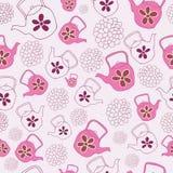 Projeto sem emenda do teste padrão dos bules do rosa ilustração stock