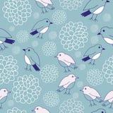 Projeto sem emenda do teste padrão dos pássaros e das flores ilustração royalty free
