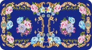 Projeto simétrico da rosa no azul Imagem de Stock Royalty Free