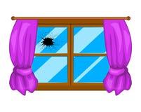 Projeto simples do vetor da janela quebrada isolado no branco ilustração royalty free