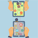 Projeto social da informática dos meios com multi Fotografia de Stock Royalty Free
