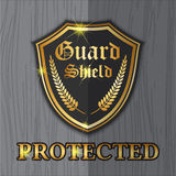 Projeto superior do logotipo da etiqueta do protetor do protetor para o conceito da proteção Imagens de Stock