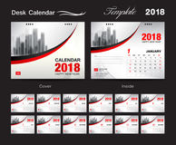 Projeto 2018, tampa vermelha, grupo do molde do calendário de mesa de 12 meses, ilustração stock