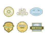 Projeto temático da etiqueta da bicicleta tipográfica ajustado - bicicleta Imagem de Stock Royalty Free