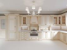 Projeto terminado da cozinha clássica com detalhes de madeira e o assoalho de mármore, design de interiores claro luxuoso ilustração do vetor