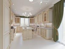 Projeto terminado da cozinha clássica com detalhes de madeira e o assoalho de mármore, design de interiores claro luxuoso ilustração royalty free