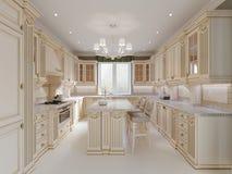 Projeto terminado da cozinha clássica com detalhes de madeira e o assoalho de mármore, design de interiores claro luxuoso ilustração stock