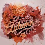 Projeto tipográfico do outono da pintura da aquarela do vetor Imagem de Stock Royalty Free