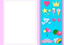 Projeto tipográfico para cumprimentar, aniversário, cartão do convite Balão, arco-íris, doces e outros objetos com claro - fundo  ilustração do vetor