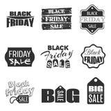 Projeto tipográfico preto de sexta-feira Etiqueta da venda do vetor Foto de Stock