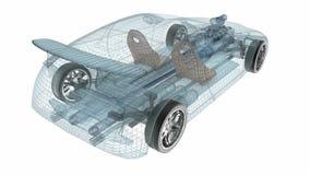 Projeto transparente do carro, modelo do fio animação 3D video estoque