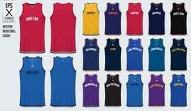 Projeto uniforme do molde do basquetebol Modelo do t-shirt da camiseta de alças para o clube do basquetebol na divisão ocidental  Fotos de Stock Royalty Free