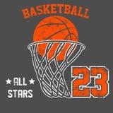 Projeto velho americano do vetor da cópia do T do efeito do grunge do vintage Conceito retro do logotipo do basquetebol superior  Imagem de Stock