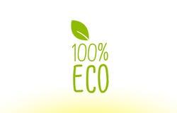 projeto 100% verde do ícone do logotipo do conceito do texto da folha do eco Fotos de Stock