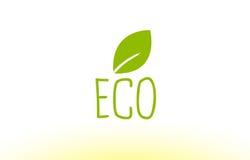 projeto verde do ícone do logotipo do conceito do texto da folha do eco Imagem de Stock