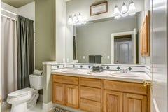 Projeto verde do banheiro em uma casa de campo luxuoso imagens de stock royalty free