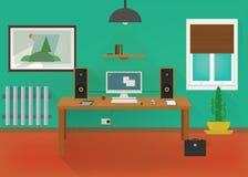 Projeto verde do vetor do escritório domiciliário Fotos de Stock